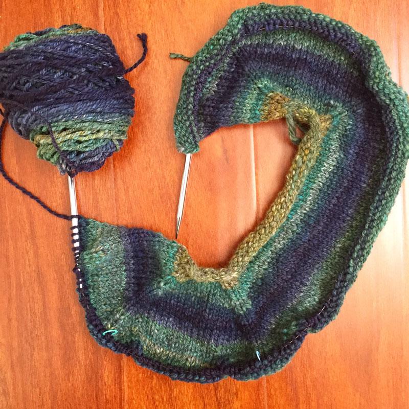 blue green handspun sweater